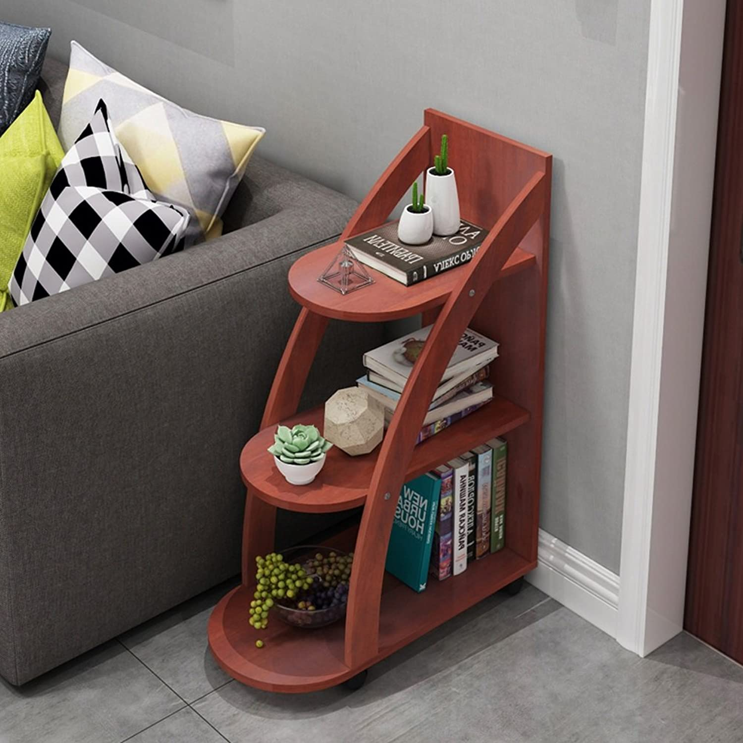 Ash Side Table Sofa Side Creative Small Coffee Table A Few Corner Coffee Table Round (color   RED)