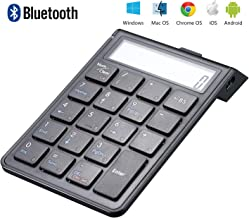 Sunreed Chargeable Bluetooth Number Pad and Calculator 2-in-1, Wireless Numeric Keypad Keyboard with 12-Digit LCD Display for Laptop Computer Apple, Compatible with Windows OS, Mac OS, with = Key