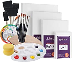 Glokers Canvas Panels Painting Kit | Art Supplies Set Includes Paint Palette, Sponge Brushes, Canvases, Paintbrushes & Mixing Wheel | Warp-Free Painting Canvas Great for Acrylic, Oil & Watercolor