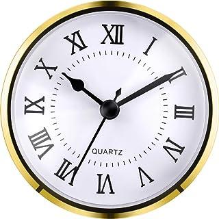 Hicarer 3-1/2 Inch (90 mm) Quartz Clock Fit-up/Insert with Roman Numeral Quartz Movement (Gold Trim)