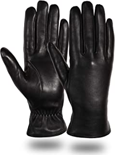 Womens Leather Winter Touchscreen Gloves Driving Fashion 100% Pure Lambskin Cashmere Lined Gloves