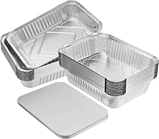 """BESTONZON 20PCS Heavy Duty Thicker Aluminum Foil Pans With Board Lids for Cooking, Roasting, Baking - 10"""" X 7.5"""" X 2.5"""""""