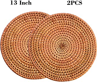 """13"""" Natural Hand Woven Rattan Placemats for Dining Table,Decorative Heat Resistant Mats for Kitchen Coutertops,Hot Dishes,..."""