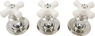 Trim Kit for 3-handle Shower Valve, With Porcelain Cross Handles, Fit Delta Washerless Shower, Chrome Finish -By Plumb USA 38800