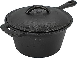 Trilonium Pre-Seasoned Cast Iron 1.8 Litre Sauce Pan with Lid - Induction Compatible