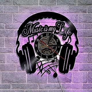 レトロ ビニールレコードの壁掛け時計、リモコン アートナイトライトウォールクロック 最高の贈り物とギタードラムバンド,A
