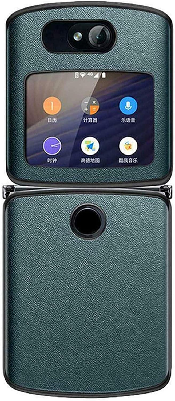 Genuine Vegan Leather Hybrid Hard PC Case Cover 2020 Ultra Shockproof Folding Phone Protective Cover Flip Shell Black for Motorola Razr 5G Cases