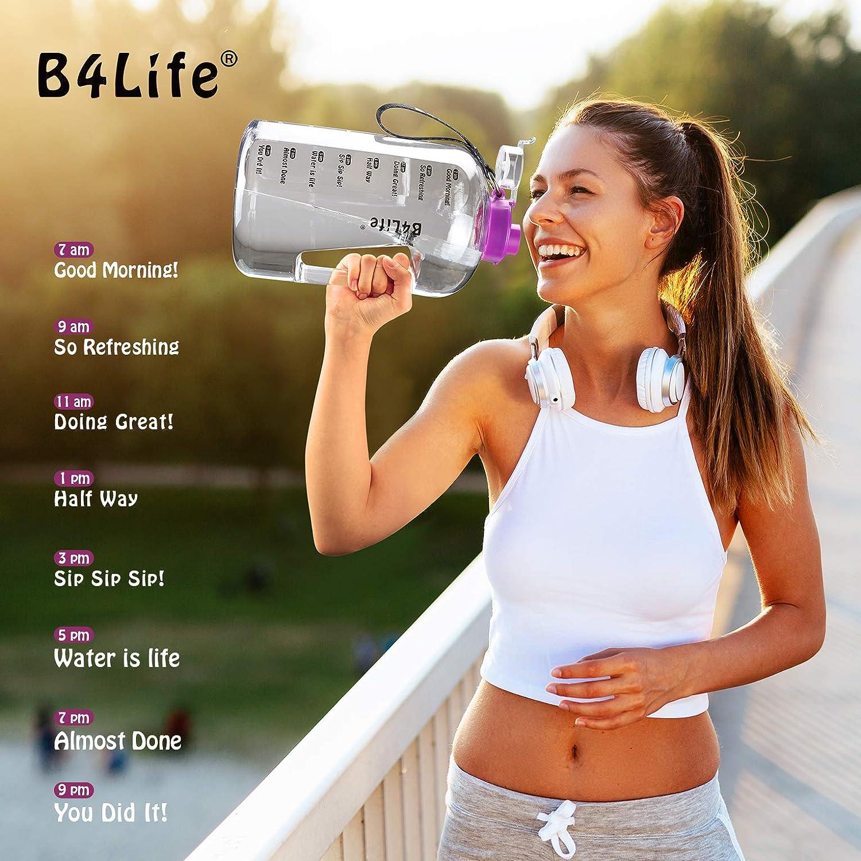 a prova di perdite allenamento fitness bere pi/ù acqua tutti i giorni B4Life Borraccia da 3.78L con indicatore del tempo extra large senza BPA viola braccialetto motivazionale con flip top
