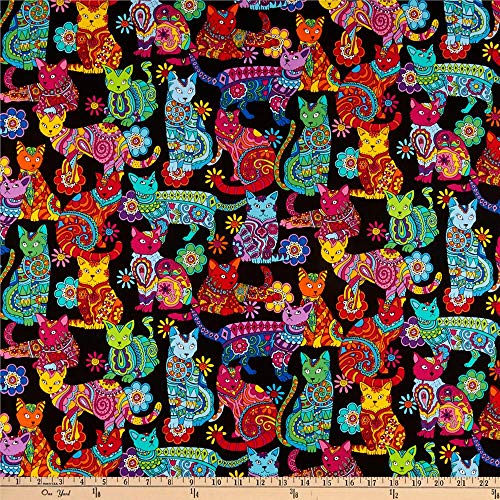 Timeless Treasures 0444106 Cat Coloring Multi Fabric by The Yard, Multicolor