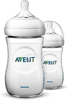 Philips Avent SCF693/23 Natural Baby Bottle 260ml/9oz, 1m+, White, Pack of 2