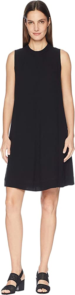 Silk Georgette Crepe Mock Neck Short Dress