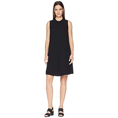 Eileen Fisher Silk Georgette Crepe Mock Neck Short Dress (Black) Women