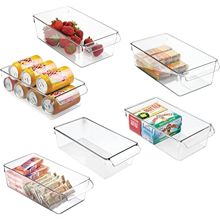 mDesign boîte de rangement à poignée en plastique (lot de 6) – grand bac en plastique idéal en cuisine, dans un placard ou comme boîte pour frigo – transparent