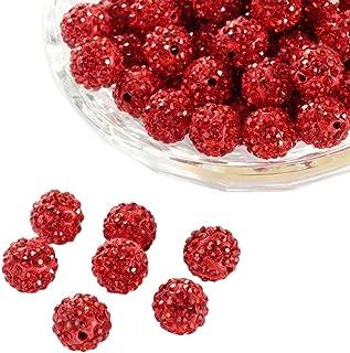 Pandahall 100 Pcs 10mm Light Siam Shamballa Pave Disco Ball Clay Beads, Polymer Clay Rhinestone Beads Round Charms Jewelry Makings