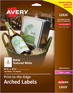 Avery Arched Wine Labels for Laser Printers Only, Water Resistant, 4.75