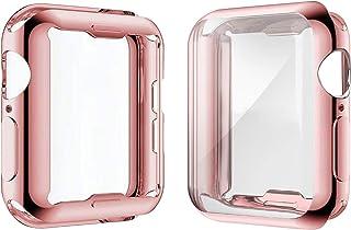 Misxi 【2枚セット】 Apple Watch Series 6 SE/Series 5 / Series 4 40mm ケース, メッキ 柔らかい TPU 保護カバー アップルウォッチシリーズ 6/SE/5/4 40mm ケース (1 ロ...