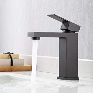 KES Bathroom Sink Faucet Single Handle Lavatory Single Hole Vanity Faucet Lead-Free Brass Matte Black Finish, L3120ALF-BK