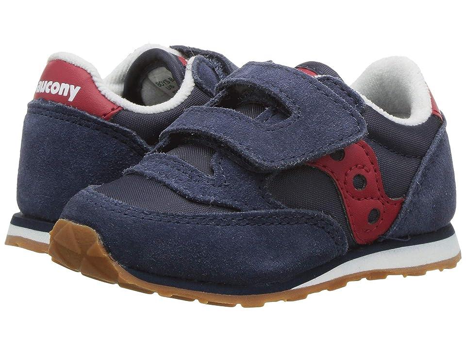 Saucony Kids Originals Jazz Hook Loop (Toddler/Little Kid) (Navy/Red) Boys Shoes