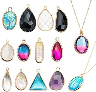 12Pcs Teardrops Crystal Pendants, Crystal Glass Stone DIY Gold Plated Charms Pendants for Girls Women Necklace Jewelry Making with 2Pcs Necklace Chain