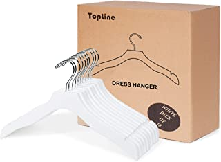 Topline Classic Wood Bridal Dress Hangers - White Finish (10-Pack)