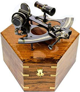 Antique Nautical Brass Maritime Sextant with Premium Solid Hard Wood Crafted Box | Sailor's Pirate Decor Gift | Nagina Int...