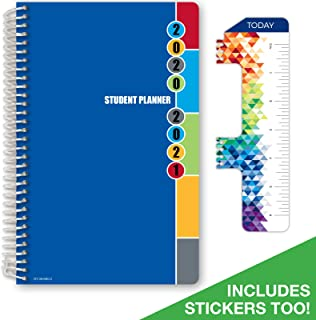 "Dated Middle School or High School Student Planner for Academic Year 2020-2021 (Matrix Style - 5.5""x8.5"" - Blue Colors Cover) - Bonus Ruler/Bookmark and Planning Stickers"