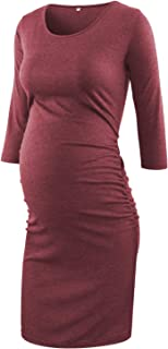 Maternity Dress 3/4 Sleeve Ruched Pregnancy Dresses