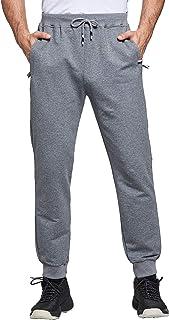 JustSun Mens Jogging Bottoms Sports Slim Fit Pants Joggers Trousers Elastic Waist Zip Pockets