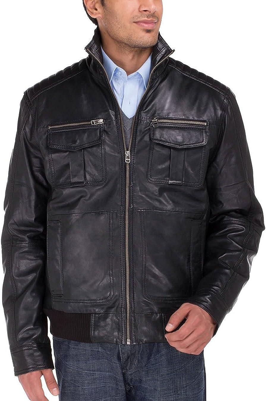 Luciano Natazzi Men's Trim Fit Lambskin Leather Blast Washed Moto Jacket