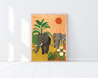 "Elephant Wall Art - 12 x 18"" Unframed Print - Global Inspired Artwork - Elephant Artwork - Modern Wall Decor - Cute Wall D..."