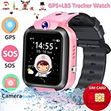 Waterproof Kids Smart Watch Phone [Provide 2G SIM Card] GPS+LBS Tracker Location Smartwatch for Age 3-12 Boys Girls Touchscreen Wrist Watch SOS Call Voice Chat Camera Game Christmas Birthday Gifts