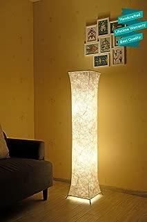 52'' LED Floor Lamp & 2 Light Bulbs,Contemporary Roman Columns Standing Floor Lamps for Living Room Bedroom Warm Atmosphere(Tyvek Dupont 10 x 10 x 52 inch)