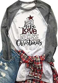 Women's Joy Hope Love Peace Christmas Baseball T-Shirt 3/4 Sleeve Raglan O-Neck Splicing Plaid Tees Top