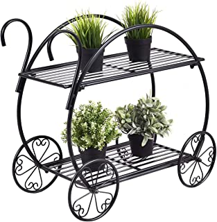 Giantex Garden Cart Stand Flower Pot Plant Holder 2 Tier Display Rack Heavy Duty Metal Home Decorative Plant Display Stand