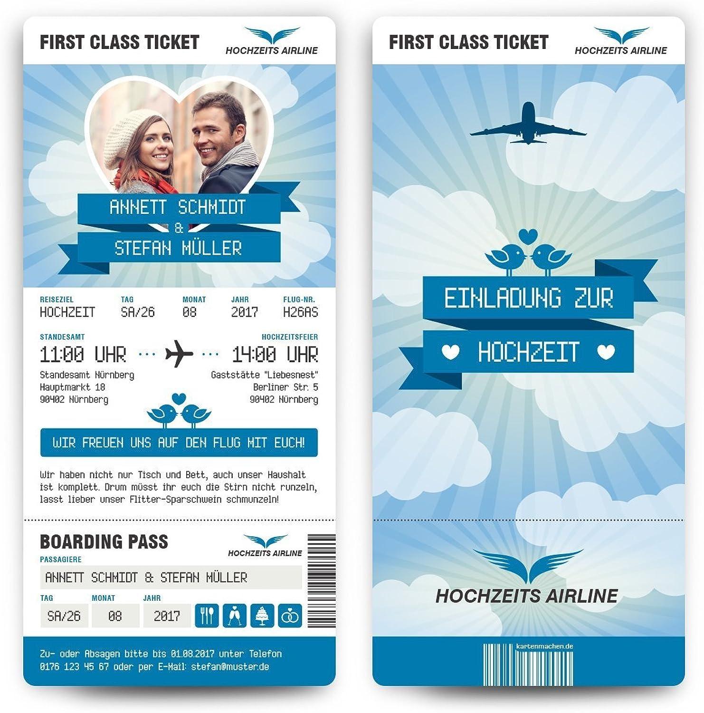 Hochzeit Einladungen (60 Stück) - First Class Flugticket Blau - Hochzeitskarten Foto Abriss B071YWSP14 | Kunde zuerst