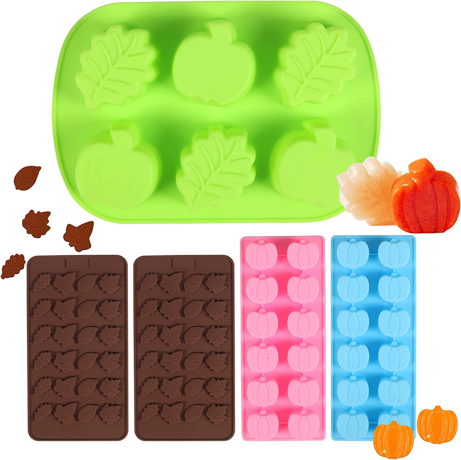 Pumpkin Silicone Molds Fall Leaves Chocolate Fondant Mold Ice Cube Cupcake Mold for Thanksgiving Halloween Candy Muffin Chocolate Candle Soap Baking Tools, 5 Pieces Chocolate Molds
