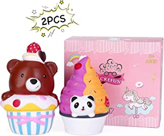 CREFUN Bear Cake Squishy Panda Ice Cream Pack NM9212 (2019 New) Slow Rising Cute Squishy Animals Squishies Food Gifts for Kid Stress Relief Toys Including 2Pcs 6.7 Inch Jumbo Squishies Super Soft Cr