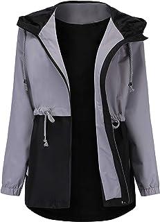معطف مطر مقاوم للماء من Romanstii ، معطف مطر بقلنسوة للنساء في الهواء الطلق معطف طويل مبطن ضد الريح (S-XXL)