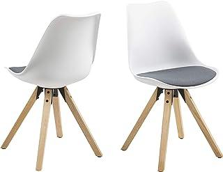 Amazon Brand - Movian Arendsee - Juego de 2 sillas de comedor 55 x 485 x 85cm Blanco/ tapizado gris