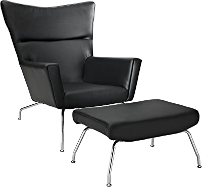 Modway Class Lounge Chair and Black Leather Ottoman