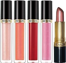 Revlon Super Lustrous Lip Gloss, 4 Piece Lip Kit Gift Set (205 Snow Pink, 245 Pango Peach, 240 Fatal Apple, 210 Pinkissimo...