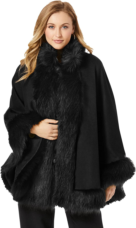 Jessica London Women's Plus Size Faux Fur Trim Cape Wool Poncho Hook And Eye Closure