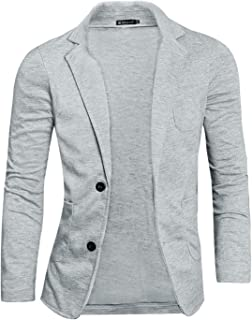 Men's Casual Slim Fit Lightweight Button Closure Cardigan Blazer Sports Coat W Pockets