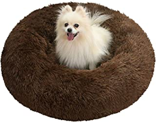 SlowTon Calming Dog Bed, Donut Dog Cuddler Bed Ultra Soft Fluffy Faux Fur Plush Round Anti-Anxiety Dog Cat Cushion Bed wit...