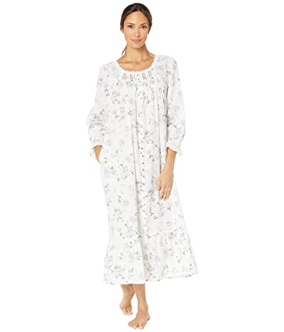 Eileen West Cotton Lawn Woven Long Sleeve Ballet Button Front Coat (White Ground/Grey Roses) Women