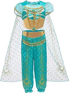 Le SSara Costume Jasmine Principessa per Bambini Paillettes Halloween Aladdin Arabian Costume Set Dress Up for Girls