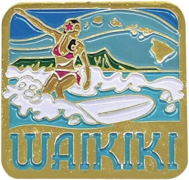 Islander Hawaiian Lapel or Hat Pin Waikiki Surfing Isle Blue, White One Size
