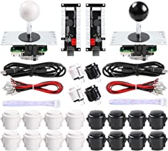 Qenker 2 Player Arcade DIY Parts Kit 2X Zero Delay USB Encoder + 2X Arcade Joystick + 20x Arcade Buttons for Raspberry Pi and PC Windows MAME Controller (Black + White Kit)