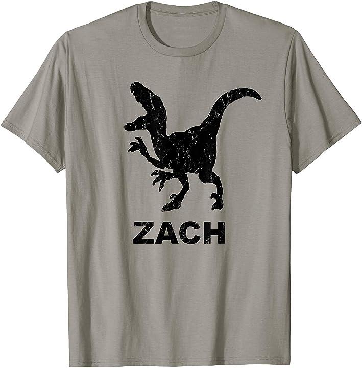 Zach Name T Rex T-shirt Distressed Black Dinosaur