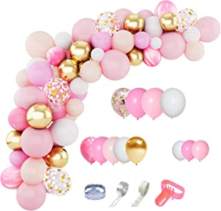 144 Pcs Pink Balloons Garland Arch Kit 12'' 10'' 5'' Light Pink Gold White Balloons Confetti Latex Metallic Balloons for Girl Birthday Baby Shower Wedding Party Decorations Supplies with Balloon Strip, Tying Tool, Glue Points & Ribbon